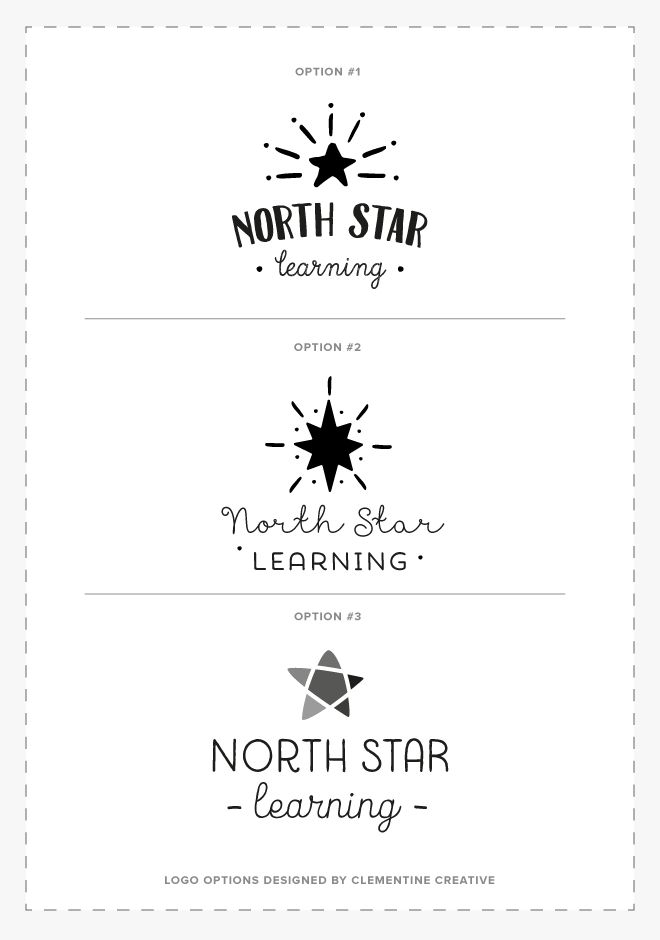 North Star Learning logo options designed by Clementine Creative