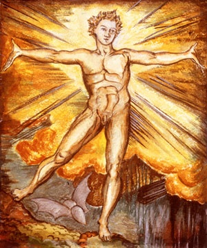 "William Blake's painting 'Albion Arose'. From blog post titled: ''Good & Evi'' debate fires up as Australia burns': ""'How can we be redeemed?' is a question that needs to be answered before we digress into more symptomatic subjects like global climate change. For me the best and indeed only real and lasting answer on the subject is Jeremy Griffith's explanation of the human condition."""