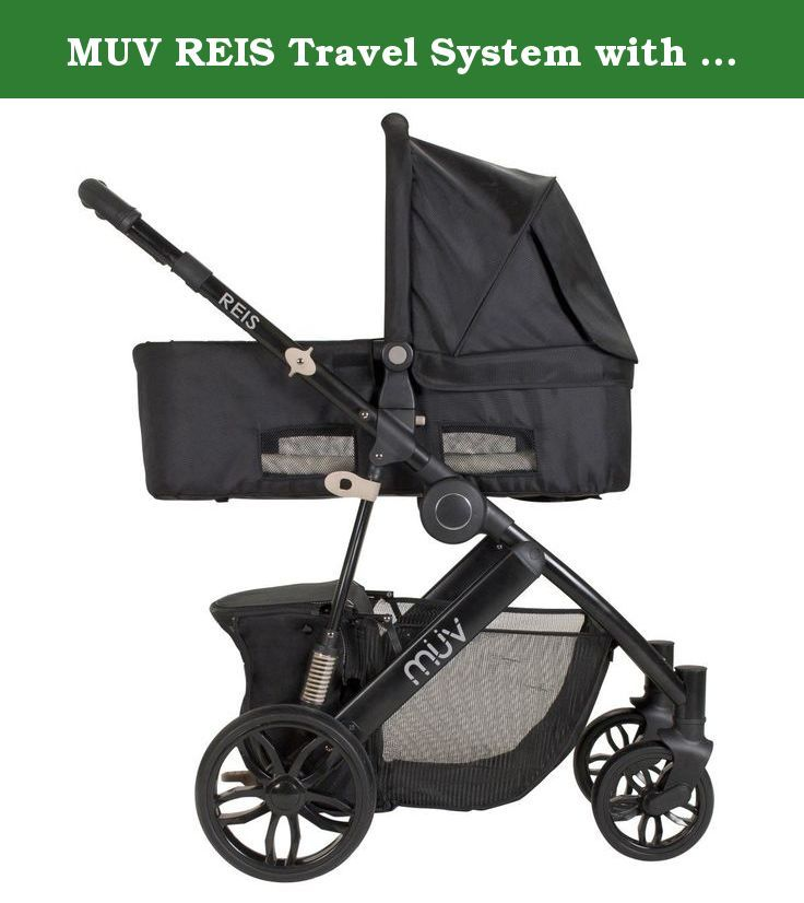MUV REIS Travel System with KUSSEN Car Seat and Canopy (Satin Black).