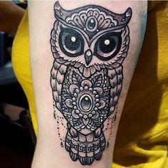 Ugle av Julie @stromsnesdesign #mandala #owl #tattoo