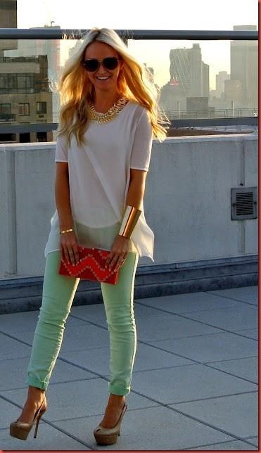 Visual Modesto e super elegante usando Jeans verde menta.