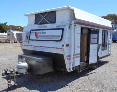 Coromal lowline, year 1989, new roll out awning, cool only air conditioning, front kitchen with full gas oven, microwave, 3 way fridge, new zips and screens in skirting, new tyres, 12v, toolbox on front, wheel bearings and brakes inspected approx 6 months ago. M: 940kg GTM: 1250kg approx 15ft. Inspection Welcome Aldinga Beach Motohomes & Caravans 10 Lacey Drive Aldinga Beach SA 5173 PH: 08 71232612 $11,999.00 AUD