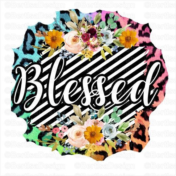 Blessed Sublimation Sunflower Leopard Sublimation Png