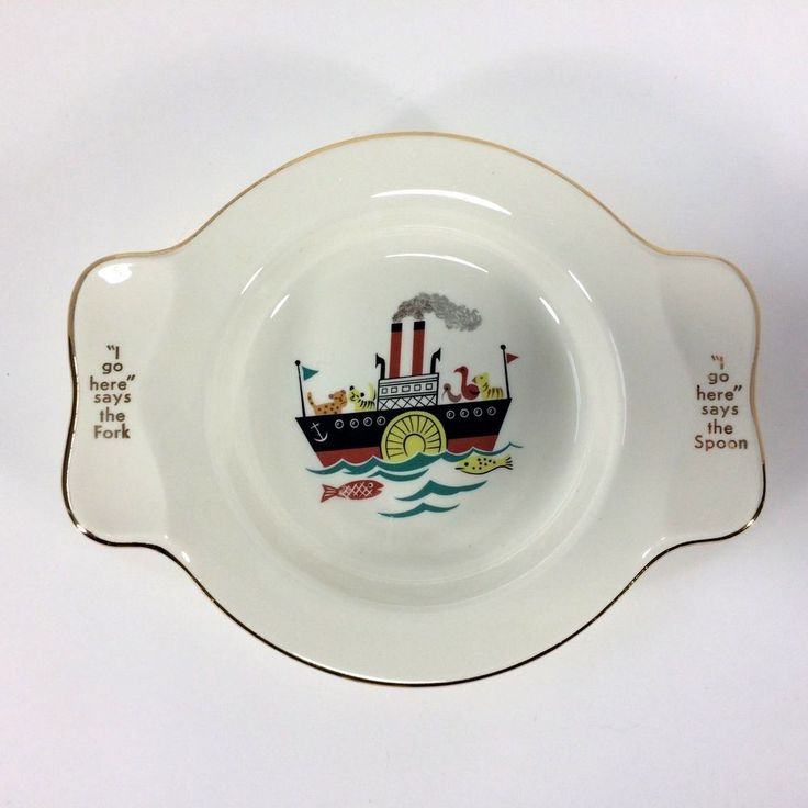 Childs Plate Keepsake I Go Here Spoon Fork Georgian China 22KT Boats Nursery VTG #GeorgianChina