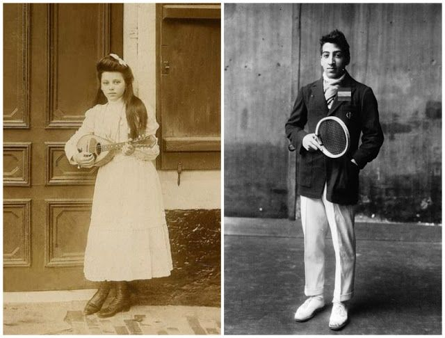 Adolescentes vintage,Francia En la foto de la derecha está el jóven René Lacoste, el futuro tenista y fundador de la marca de ropa «Lacoste»