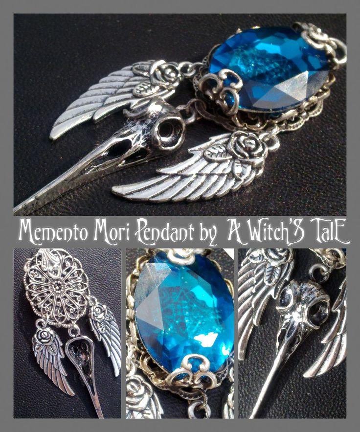 """Memento Mori Pendant"" by A Witch's Tale Instagram: https://www.instagram.com/awitchstale/ #jewels #pendant #awitchstale #crystal #craft #witch #amulet #accessory #silver #gothic #dark #necklace #mementomori"