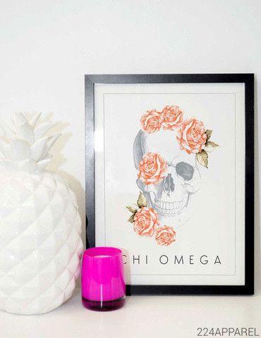 Floral Skull Chi Omega