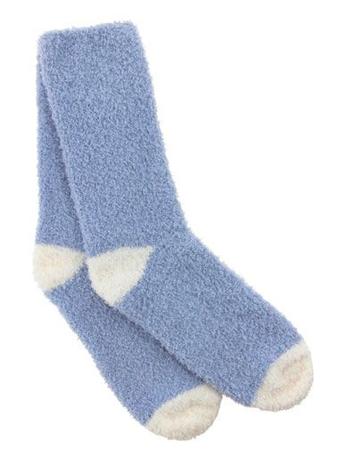 Chenille Socks - Powder Blue | Boux Avenue