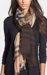 Burberry Scarf tied in a pretzel knot