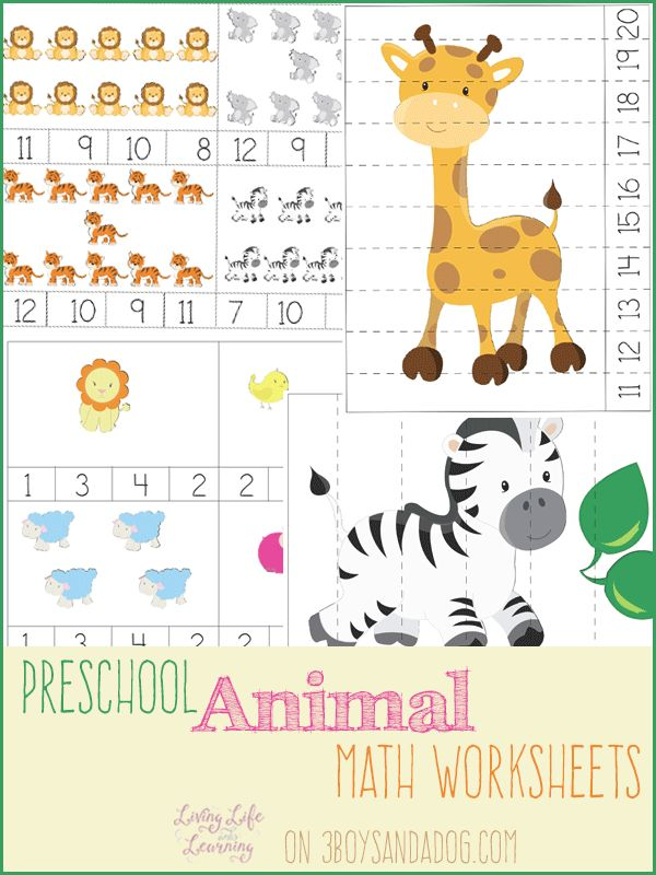 FREE PreK Animal Themed Math Worksheets