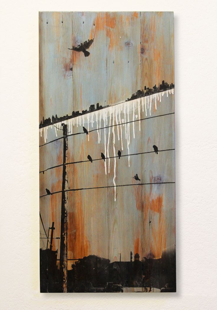 over undercurrent - mixed media on reclaimed cedar planks
