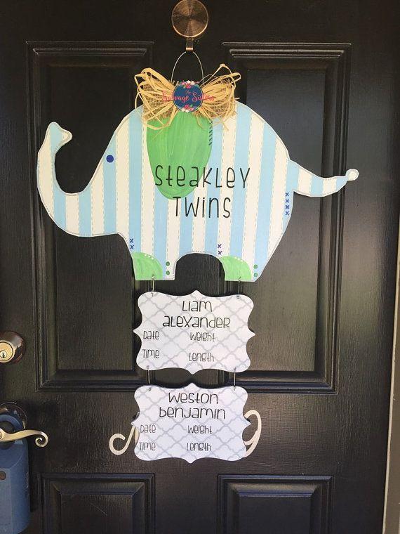 Elephant Hospital Door Hanger, Twin Door Hanger, Hospital Door Announcement, Baby Shower Gift, Hospital wood door hanger.