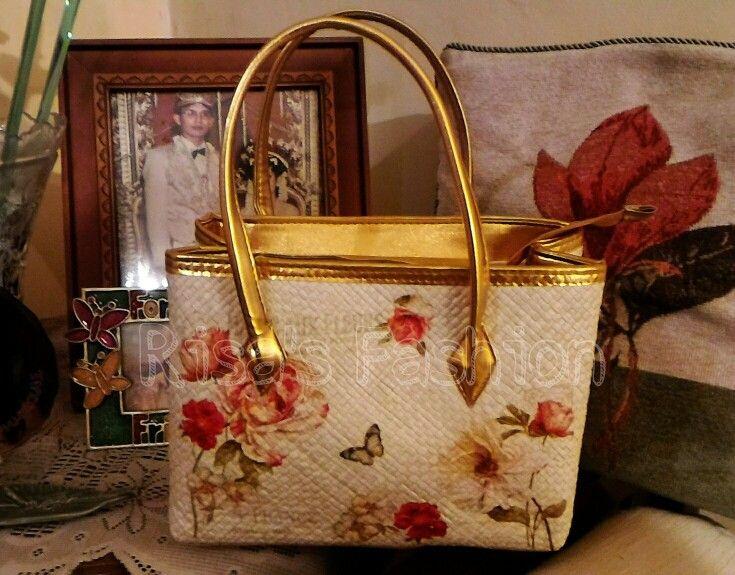 Mini handbag decoupage Pandan hand woven