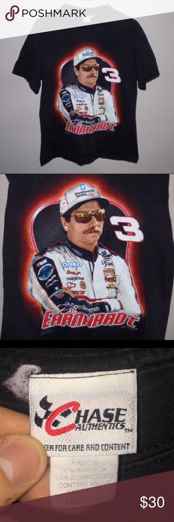 Vintage 90's Dale Earnhardt Sr. NASCAR T-Shirt Vintage 90's Dale Earnhardt Sr. NASCAR T-Shirt. Still in great (9/10) condition with no flaws or stains! Only defect is that there is light fading but still looks great! This shirt has some awesome graphics screen printed on the front and back of the shirt! Vintage Shirts Tees - Short Sleeve