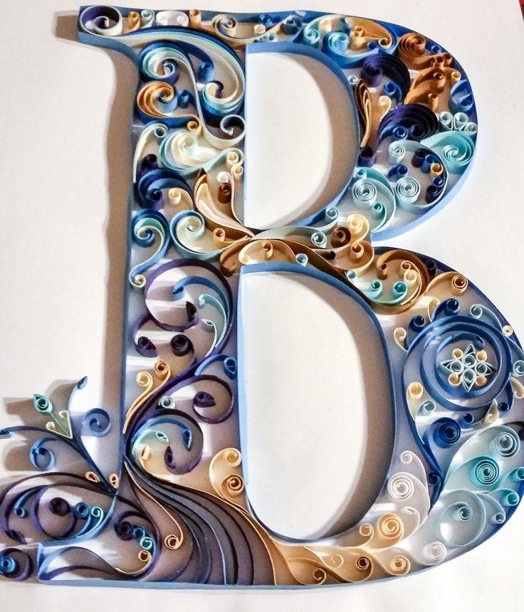 Quilled Letter B Monogram - Blue Scrolls  #monogram #quilling #scrollwork #letterb