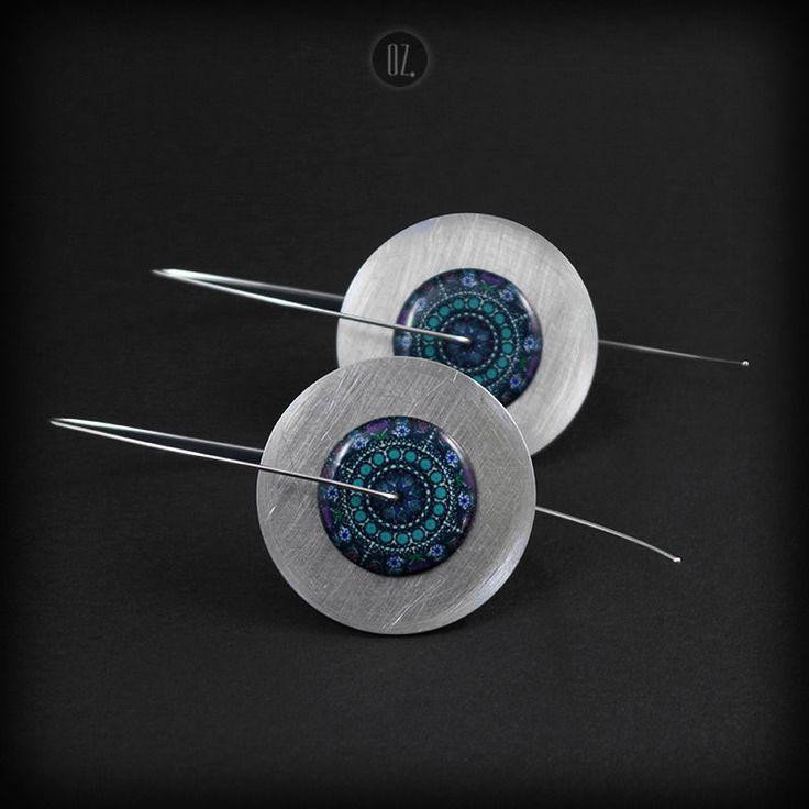 Circles Ocean Mandala XXL Tail | ALUMINIUM & SILVER Long DANGLE EARRINGS - product image