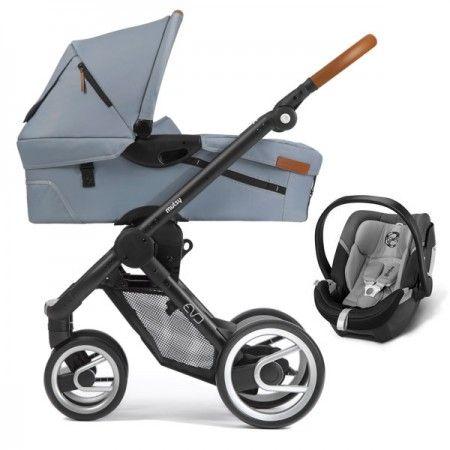 Poussette Trio Mutsy Evo Urban Nomad Set poignée en simili cuir + nacelle + coque auto Cybex Aton 4 black winter sky gris - Collection 2015