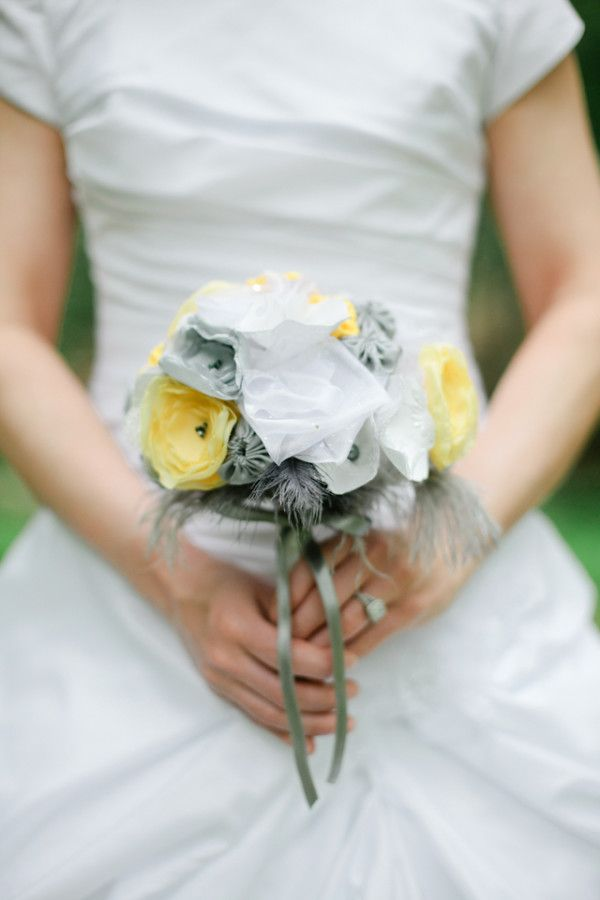 yellow and gray bridal bouquet from Mark the Occasion Designs