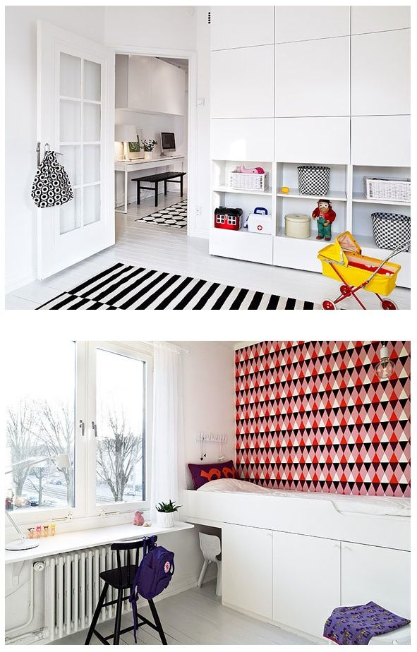 Love the wall storage for a kid's bedroom - Ikea Besta System