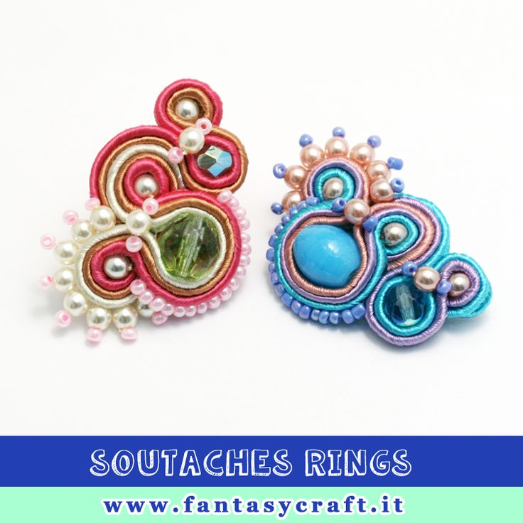 Mix and match different type of beads in your soutaches rings or project. Made by Arianna Raffa for Fantasy Craft's class. #fantasycraft