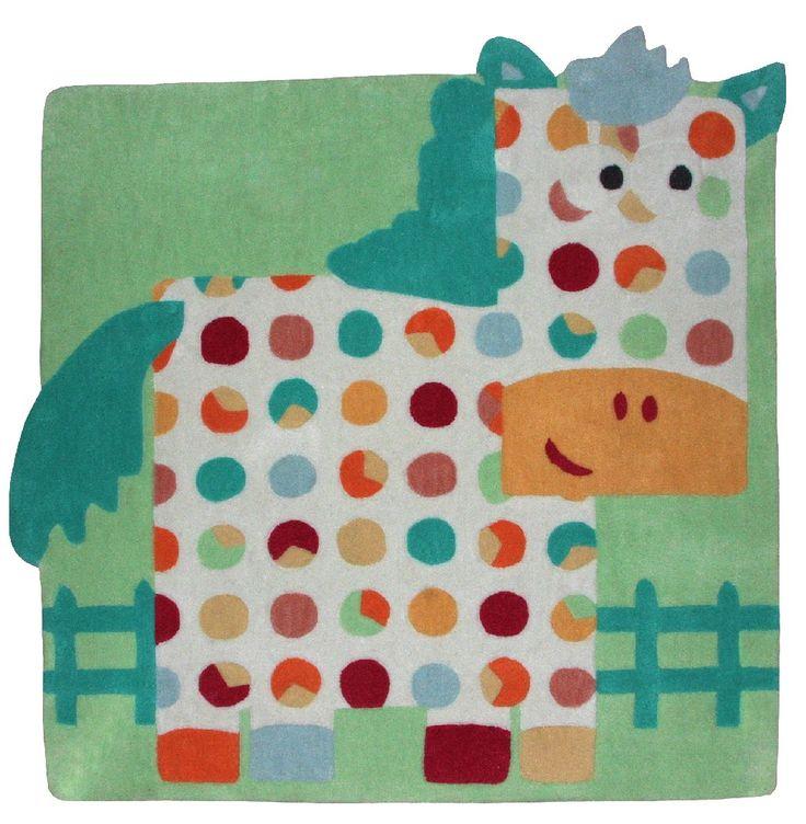 Dans la collection Tapis enfant de Decoloopio, nous vous présentons Hector le cheval !! Le tapis Hector le cheval ravira les petits par son confort et son beau mélange de couleurs. Mariant humour et poésie, il est fabriqué dans un acrylique à la fois épais et doux. Ce tapis sera vite l'aire de jeu privilégiée des bambins.  Dimensions : 120 x 120 cm