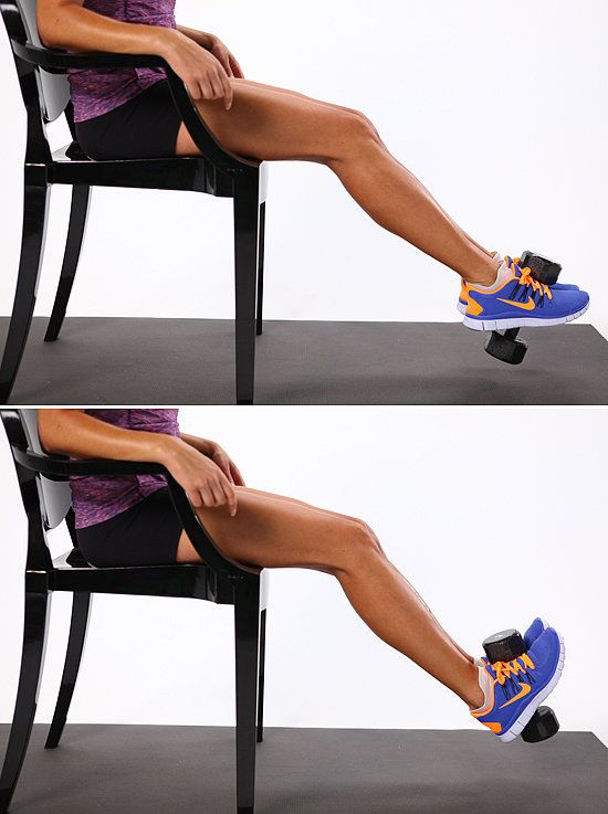 What it does: Tones the shins to prevent shin splints. Sit on a chair that's tall enough to allow your toes to point without touching the floor. Place a two- to six-pound dumbbell vertically in between your feet, squeezing the weight gently to keep