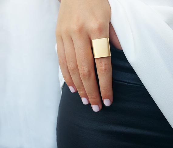 This Statement gold ring is Clean and smooth. A wide gold band adjustable ring that should fit most sizes! (6- 10) Ring measures: 15mm x 20mm  Made of an excellent quality of gold plated over brass.  You can wear this statement gold ring by itself or stack it with other rings to get the trendy look.  Picture #3 Silver ring Picture #4 Rose Gold ring  ♥ Comes in a beautiful package ready for gifting. **** Special Offer - set of 3 colors rings…