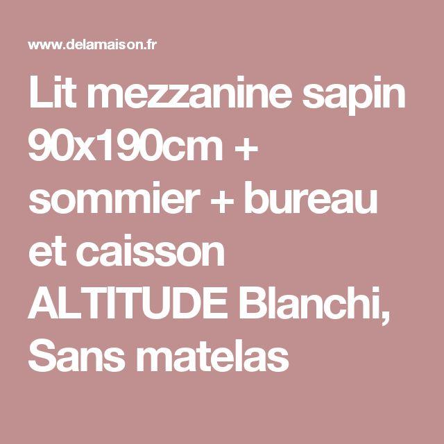 Lit mezzanine sapin 90x190cm + sommier + bureau et caisson ALTITUDE Blanchi, Sans matelas
