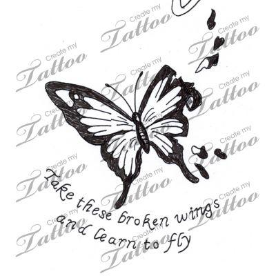 Marketplace Tattoo Butterfly with broken wings #9152   CreateMyTattoo.com