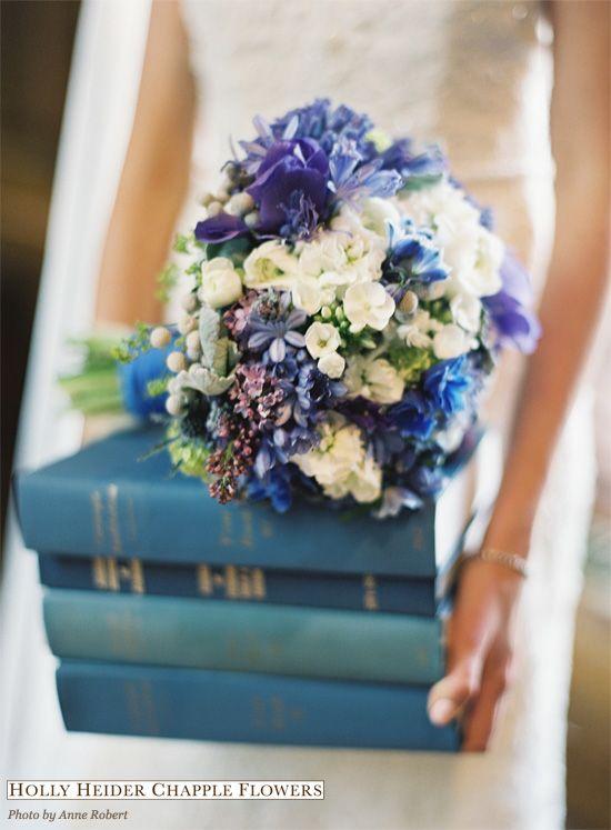 Pretty Blue Spring Wedding bouquet from www.hollychappleflowers.com