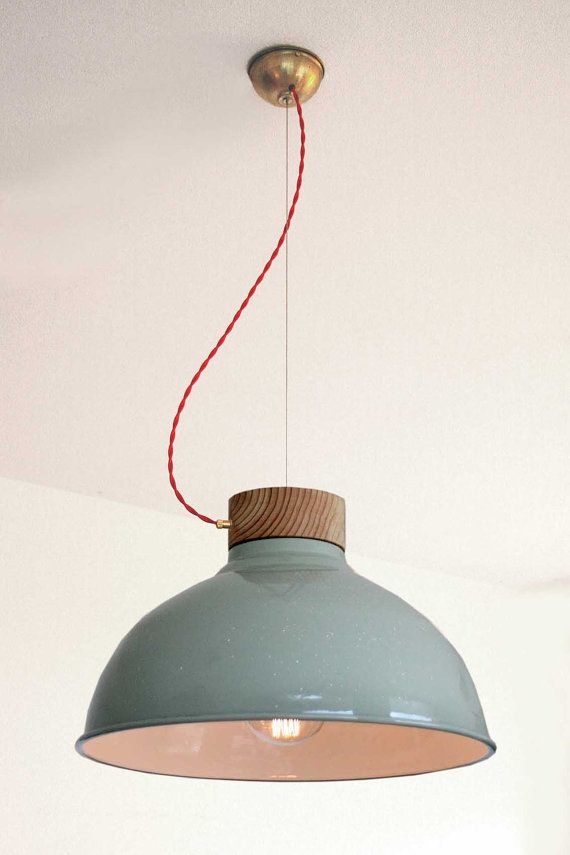 Twisted Lamp Hanging Lamp Original Green Industrial Phillips Shade Custom Designed Hand Made