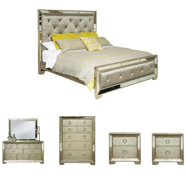 Celine 6 piece mirrored and upholstered tufted king size bedroom set silver king size bedroom for 6 piece king size bedroom sets