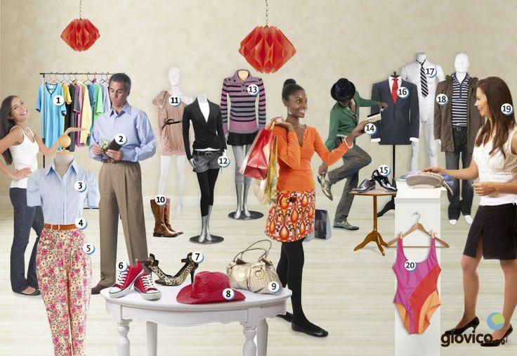 En la tienda de ropas. ¿Puedes colgar correctamente el nombre de las prendas de vestir?
