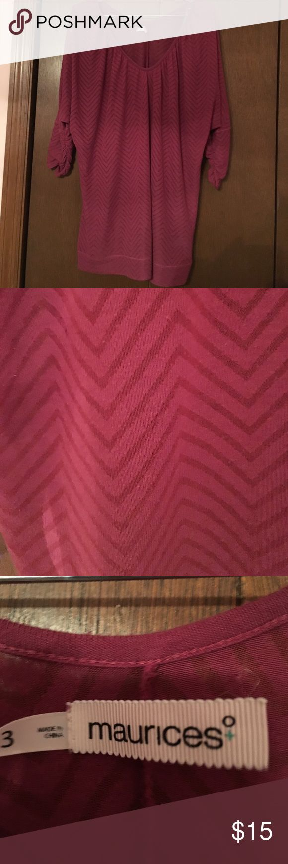EUC cranberry Maurices 3x chevron top This three quarter length sleeve cranberry top from Maurices looks great with skinny jeans or leggings. Has a chevron print and gathers slightly at the elbows. Barely sheer. I usually wore a grey cami under it. Size 3x. Maurices Tops Tees - Long Sleeve