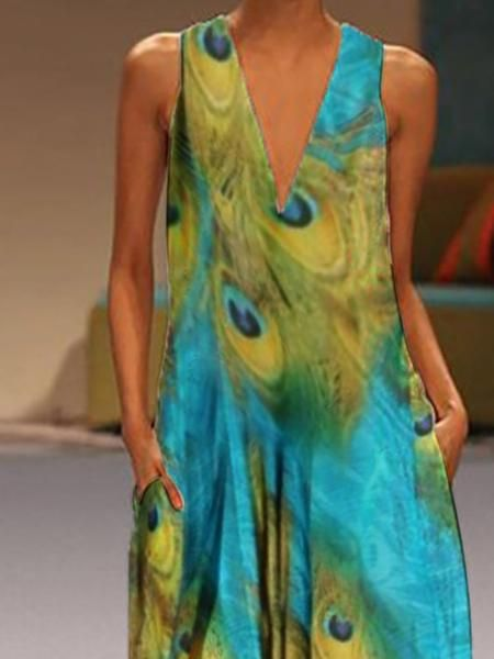 Bohemian V Neck Printed Colour Sleeveless Dress 13