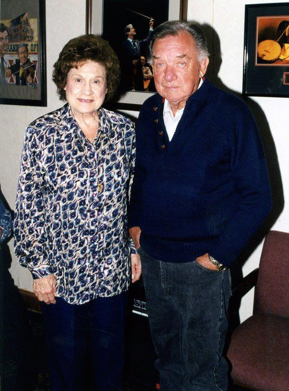 The Queen of Country Music and The Cherokee Cowboy (Kitty Wells and Ray Price, backstage at the Grand Ole Opry.) [Courtesy of Willie Nelson and Friends Museum and General Store]