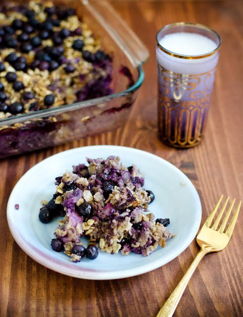 Baked Oatmeal with Blueberries and Bananas (vegan plus gluten, dairy, egg, soy, sugar, and nut free)