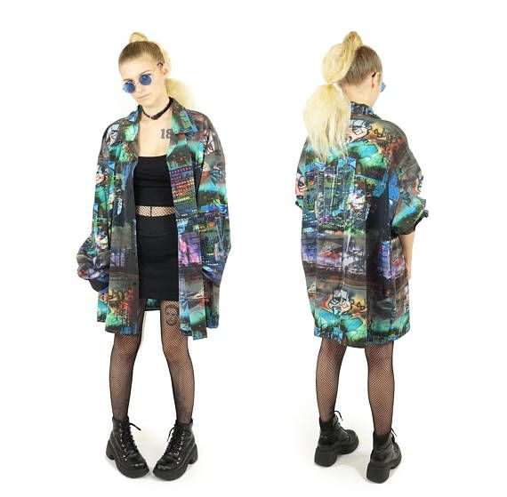Club Kid 90s Abstract Montage Button Down 90s Rave Shirt