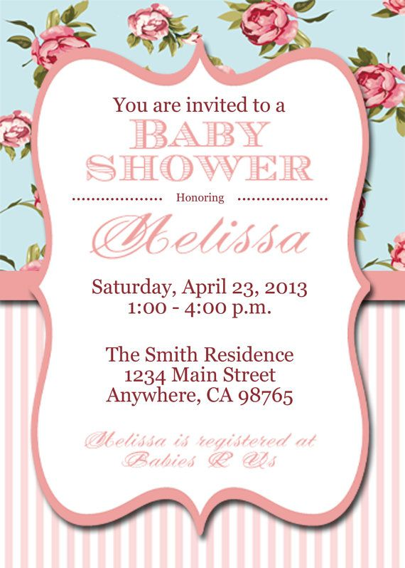 Printable Shabby Chic Baby Shower Invite, Shabby Chic Personalized Invitation on Etsy, $10.00