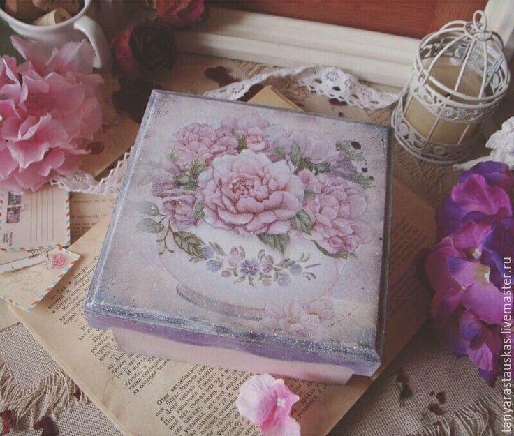 """Купить """"Цветы в сахарнице""""- короб - винтаж, коробка для мелочей, цветы, винтажный, пастельные оттенки, сиреневый"""