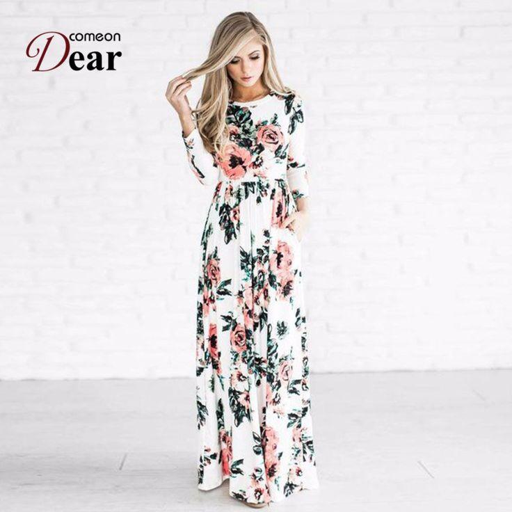 Comeondear Vestidos Largos De Verano Casual Long Sleeve White Plus Size Retro Dress RJ80499 Pocket Design Flower Vintage Dress #Verano