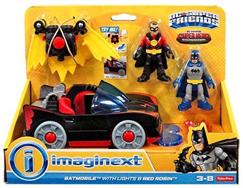 Fisher-Price Imaginext DC Super Friends Batmobile with Lights and Red Robin