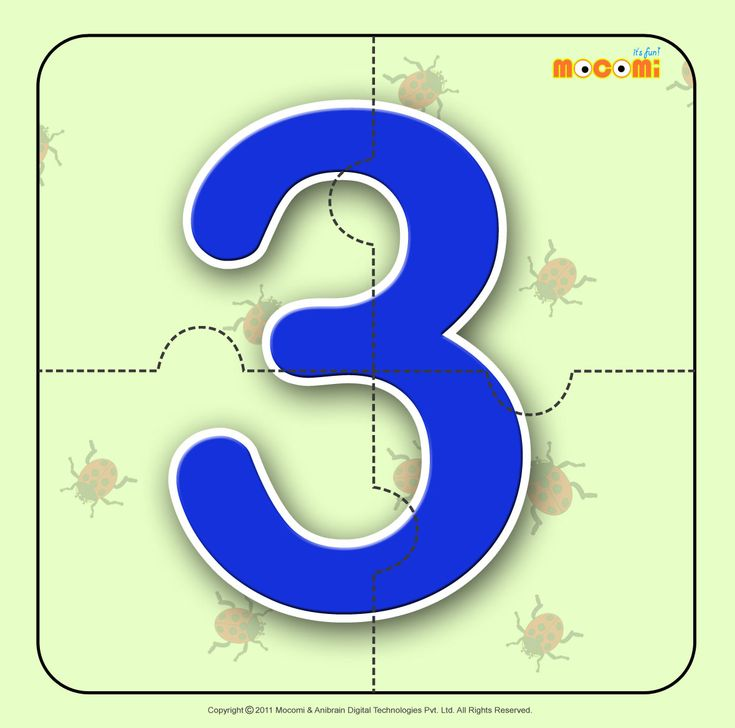 Number – Three 3 - Easy online, free to download, number #jigsawpuzzles tied to lesson plans and printable activities for pre-schoolers, kindergarden and early elementary. More such jigsaw puzzlese article at http://mocomi.com/fun/arts-crafts/printables/jigsaw-puzzles/