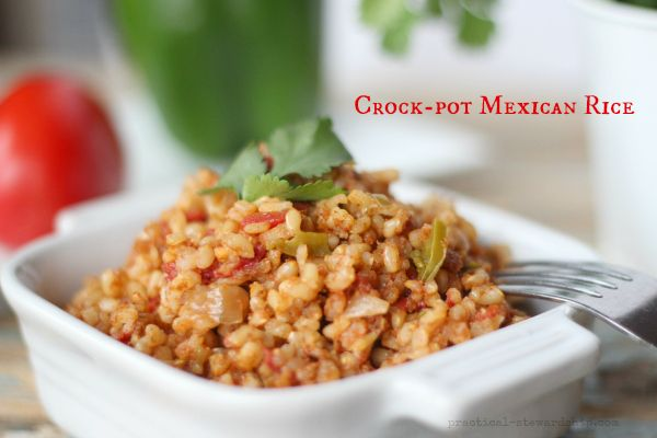 Crock-pot Mexican Rice-was so easy and really good!. I did a can of rotel plus a half can of diced tomatoes