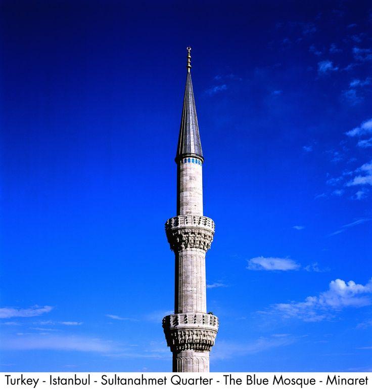 Turkey - Istanbul - Sultanahmet Quarter - The Blue Mosque - Minaret