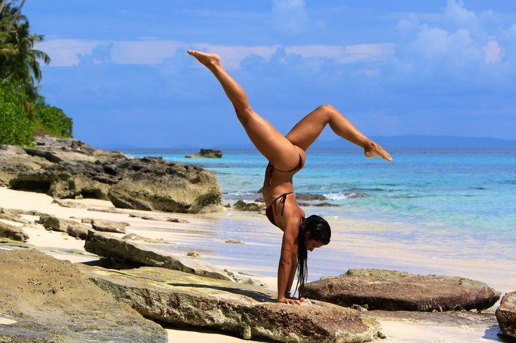 Beach Yoga at Puri Asu Resort. Asu Island, off the westcoast of Nias Island, Indoneseia.