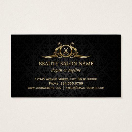 Tesouras do luxo do ouro do salão de beleza do cartão de visitas