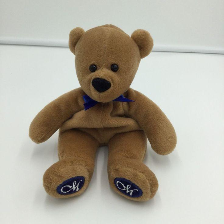 """Creative Memories Brown Bean Bag Plush Teddy Bear 9"""" Blue Bow  #TheAntiochCo"""