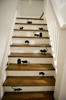 stair love mice everywhere!!!: Mice, Cat, Idea, Stairs Risers, Paintings Stairs, The Farms, Martha Stewart, House, Stairs Design