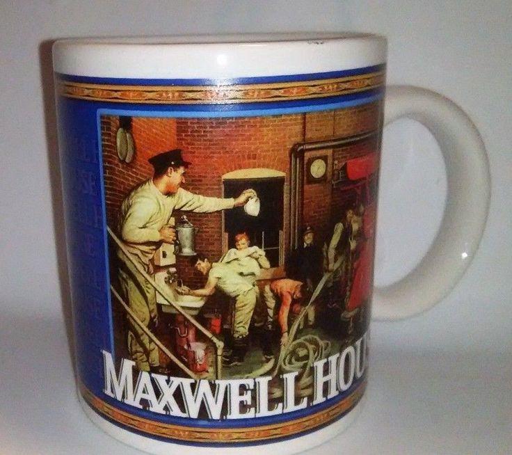 VTG Maxwell House Coffee Mug 1940's Firehouse Shoveling Snow Winter Firemen #MaxwellHouse
